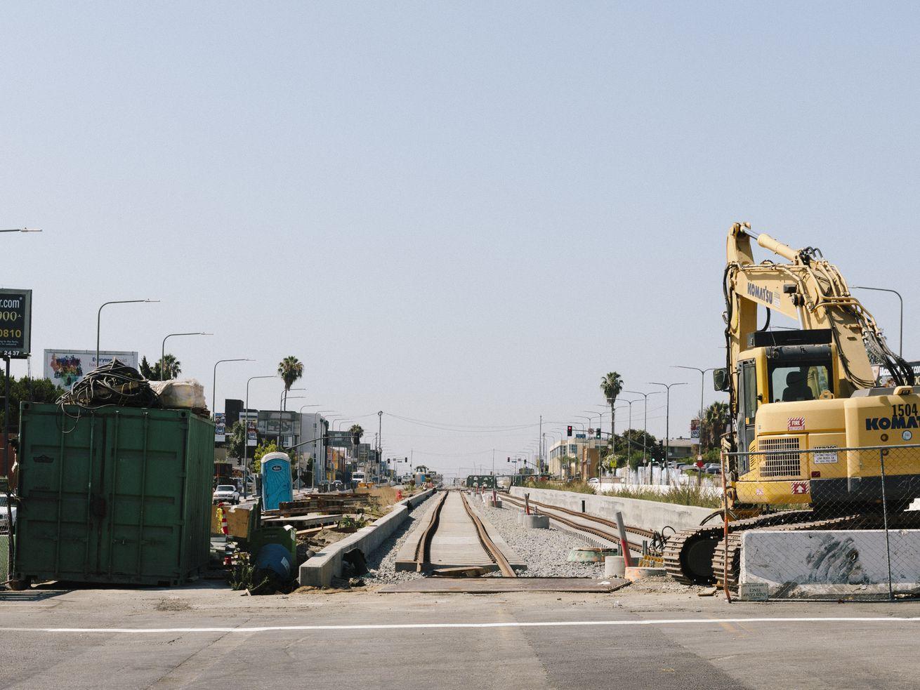 Tracks for the Crenshaw Line on Crenshaw Boulevard.