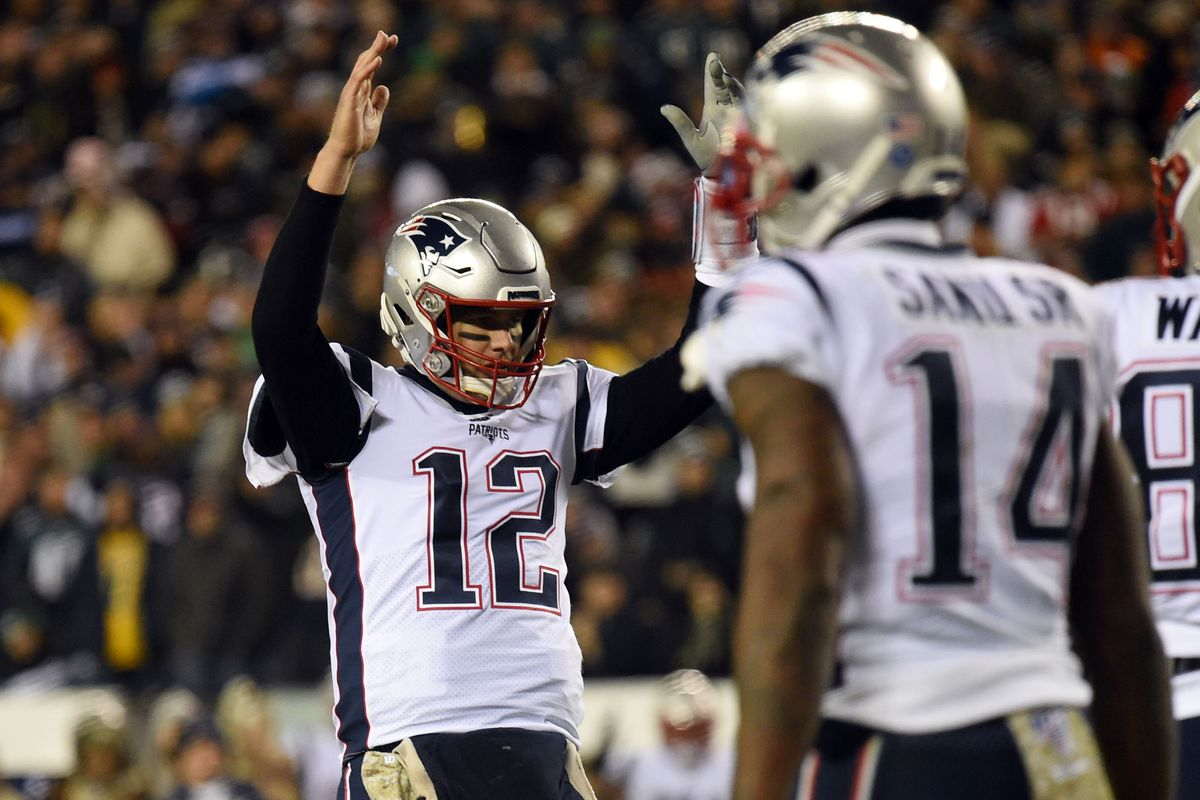New England Patriots quarterback Tom Brady reacts after a two point conversion in the third quarter against the Philadelphia Eagles at Lincoln Financial Field.