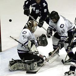 Weber State goalie Seth Libby (31) makes a stop during a recent game with Utah State.