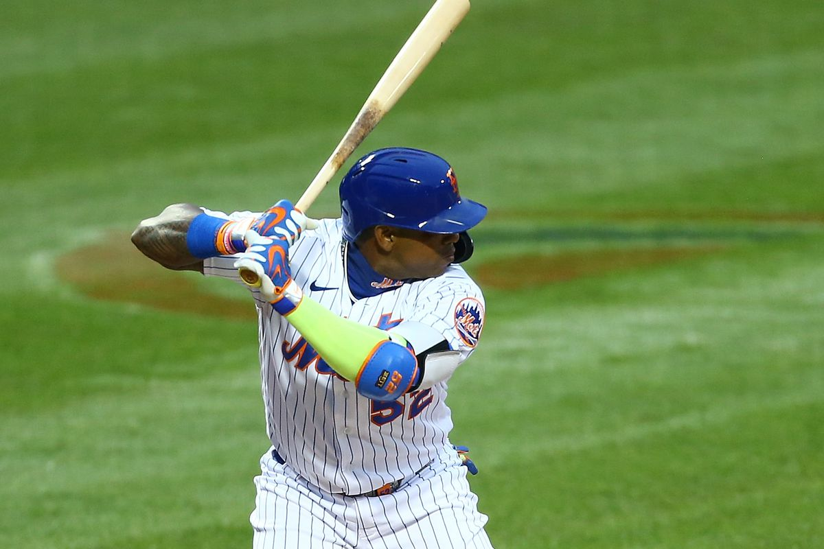 Yoenis Cespedes of the New York Mets in action against the Boston Red Sox at Citi Field on July 30, 2020 in New York City.