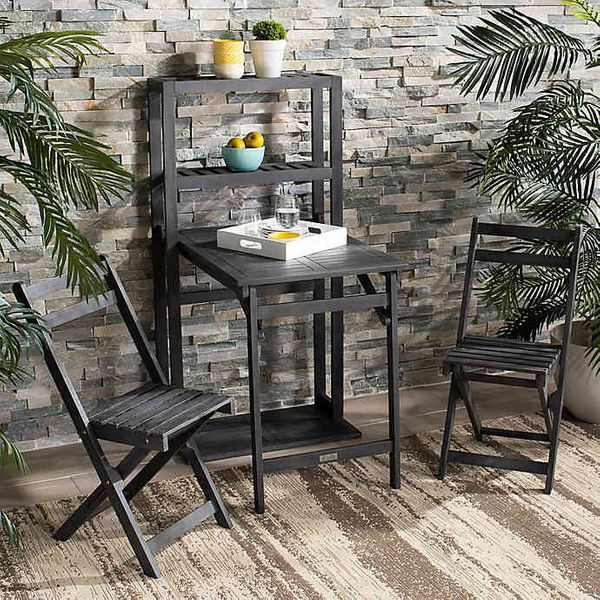 A black wooden bistro set with a table and 2 chairs
