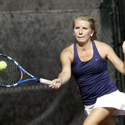 Molly Peterson of Waterford competes against Madeline Foley of Rowland Hall  (not pictured) in the State 2A Tennis first seed singles tournament at Liberty Park in Salt Lake City Saturday, Sept. 29, 2012.