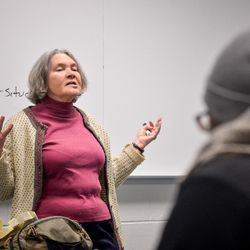 """Professor Lucy Bregman teaches the course """"Death and Dying,"""" an offering in the Religion department at Temple University in Philadelphia, Pa., Feb. 15, 2016."""