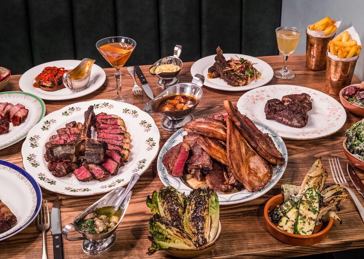 London's best Sunday roasts: Blacklock steakhouse's spread of steaks, lamb chops and pork chops