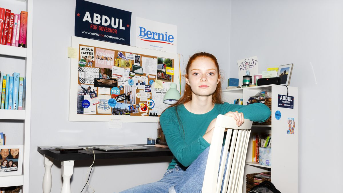 Roxie Richner, 17, in her bedroom on June 16, 2019. Richner has worked on two political campaigns. She just finished junior year in high school.
