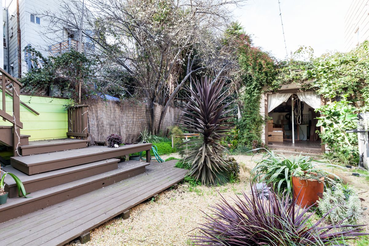 Chien's back garden is home to her wood shop—a converted storage/garden shed.