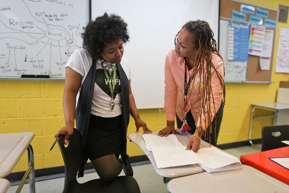 Brooklyn Prospect English teacher Tyra Frederick with high school learning specialist Gail Turner.
