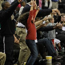 Fans erupt during a Wake victory