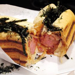 """[Terimayo dog from Japadog. By <a href=""""http://www.flickr.com/photos/wwny/10414256443/in/pool-eater/"""">wEnDaLicious</a>.]"""