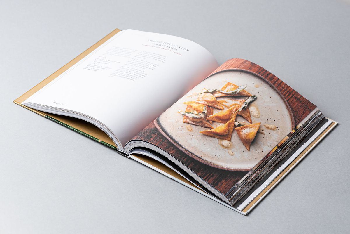 American Sfoglino cookbook by Evan Funk opened with pasta and recipe