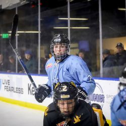 Buffalo Beauts defender Sarah Edney looks for the puck.