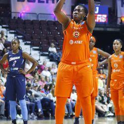 The Atlanta Dream take on the Connecticut Sun in a WNBA game at Mohegan Sun Arena in Uncasville, CT on June 21, 2019.