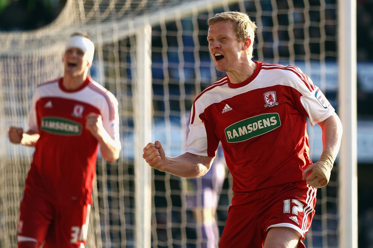 PORTSMOUTH, ENGLAND - MARCH 03:  Barry Robson of Middlesbrough celebrates scoring during the npower Championship match between Portsmouth and Middlesbrough at Fratton Park on March 3, 2012 in Portsmouth, England.  (Photo by Bryn Lennon/Getty Images)