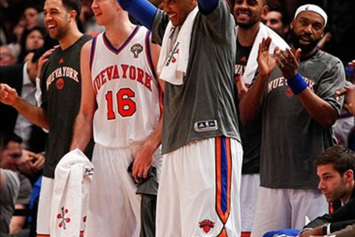 Mar. 14, 2012; New York, NY, USA; New York Knicks players celebrate on the bench during the second half against the Portland Trail Blazers at Madison Square Garden.  Knicks won 121-79. Mandatory Credit: Debby Wong-US PRESSWIRE