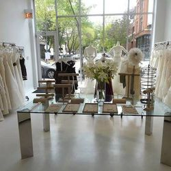 """<a href=""""http://www.palazzobridal.com/chicago-salon"""">Palazzo</a> [1872 North Damen Avenue] carries bridal gowns from Jane White, a designer who specializes in soft, sculptural gowns that comprise materials ranging from French lace to organza and duchess"""