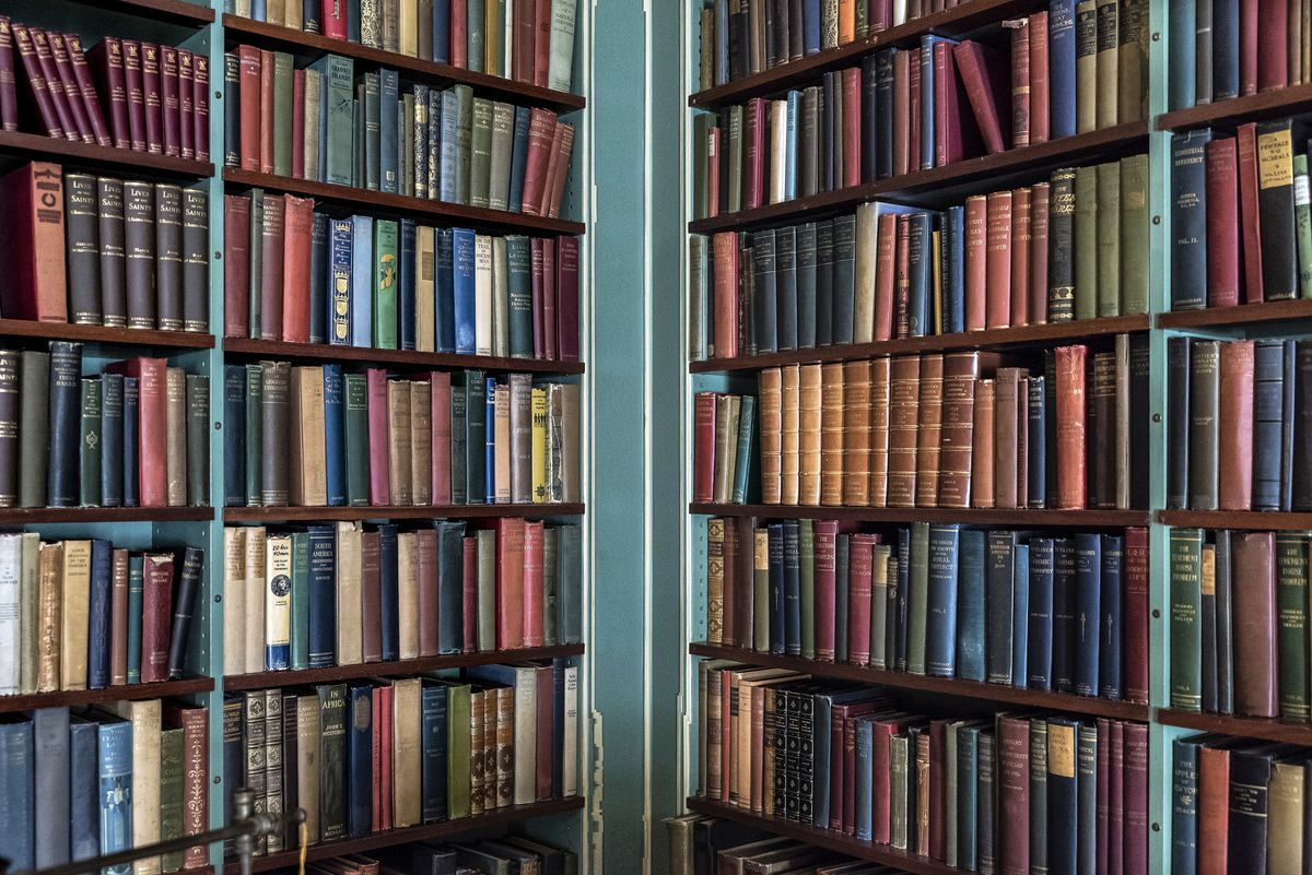 Shelves of old and rare books.