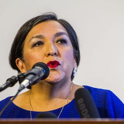 Rep. Rebecca Chavez-Houck, D-Salt Lake City, discusses the urgency to expand Medicaid during a press conference at the state Capitol in Salt Lake City on Tuesday, Aug. 18, 2015.