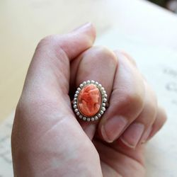 1950s cameo ring in 10k gold with coral and seed pearl, $195