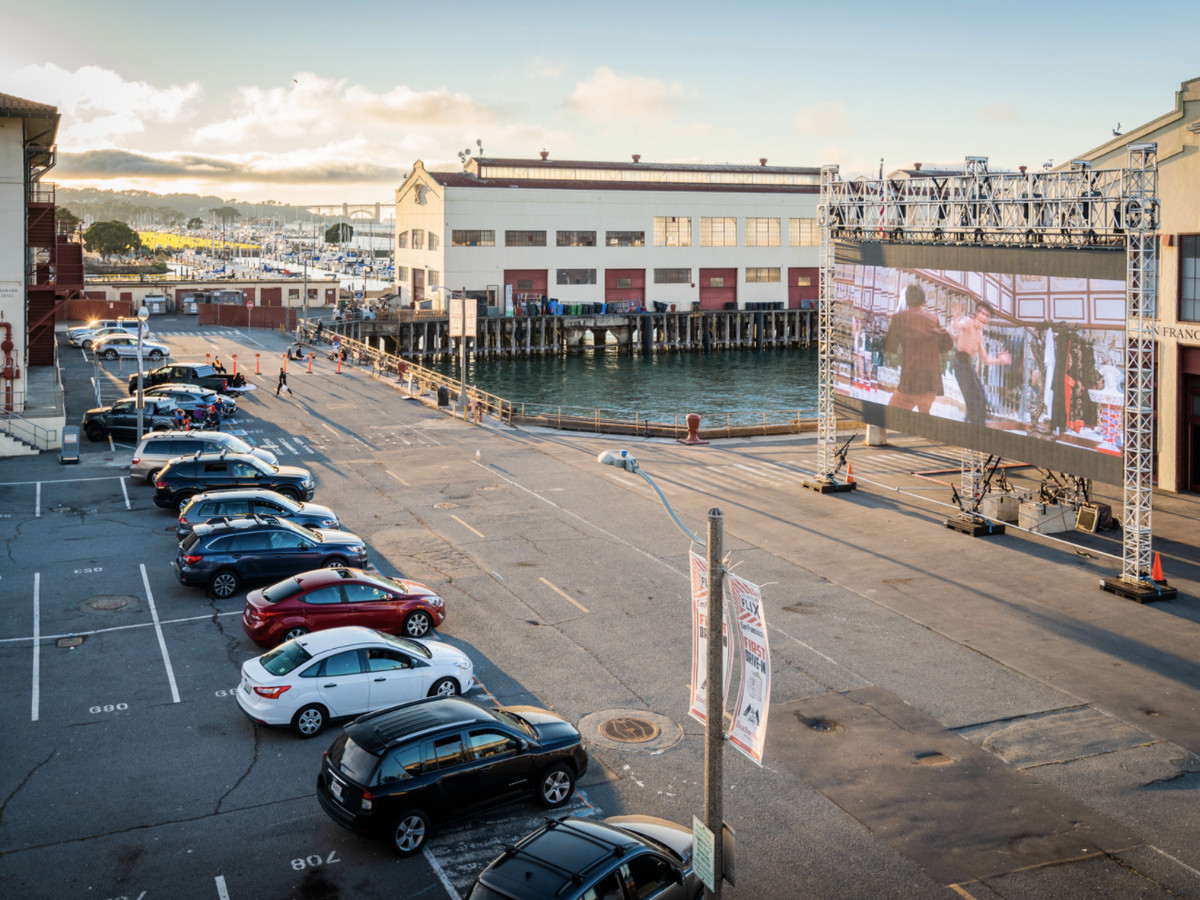 Drive-in movie theater at Fort Mason