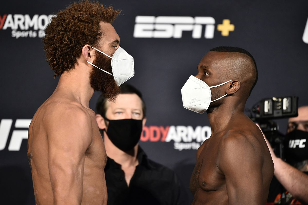 Opponents Luis Pena and Khama Worthy face off during the UFC weigh-in at UFC APEX on June 26, 2020 in Las Vegas, Nevada.