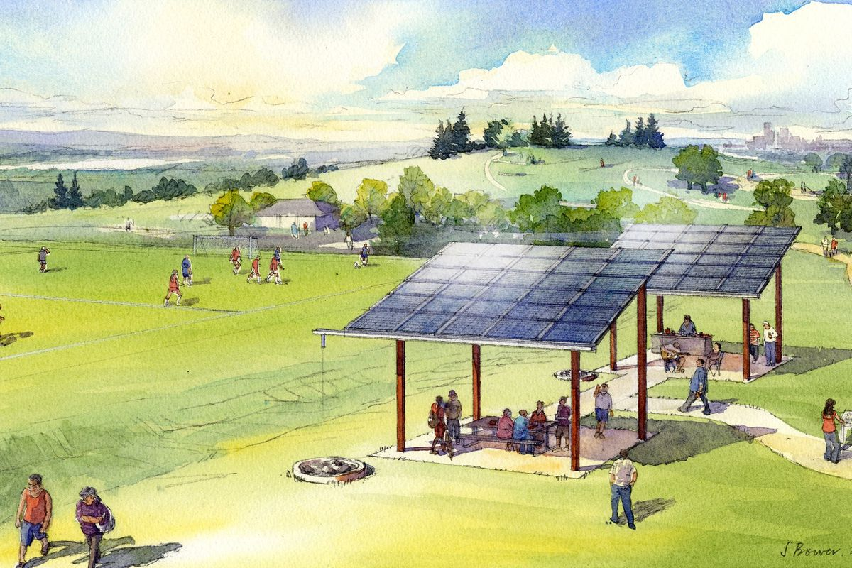 Architectural sketch of a shared solar project at Jefferson Park, in Seattle's Beacon Hill.
