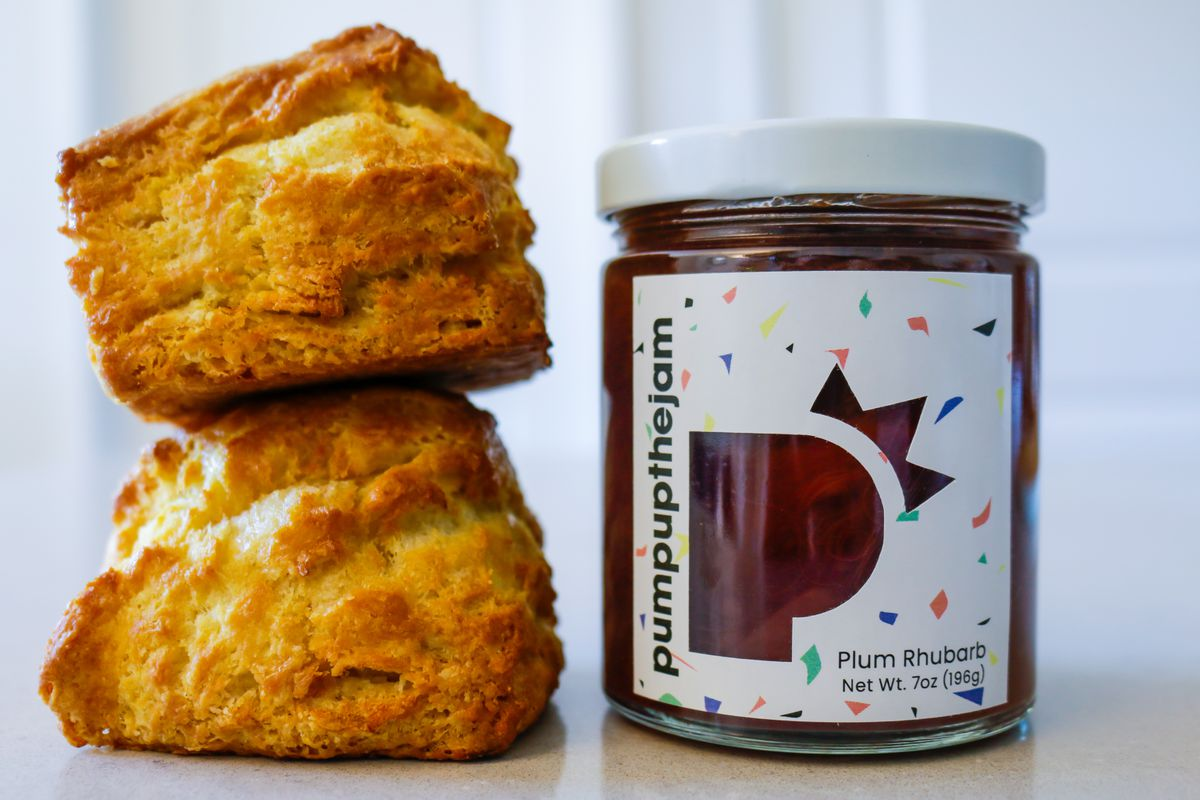Plum rhubarb jam and biscuits from Pump Up the Jam