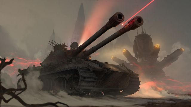 Artwork of a tank and Magnus from World of Tanks