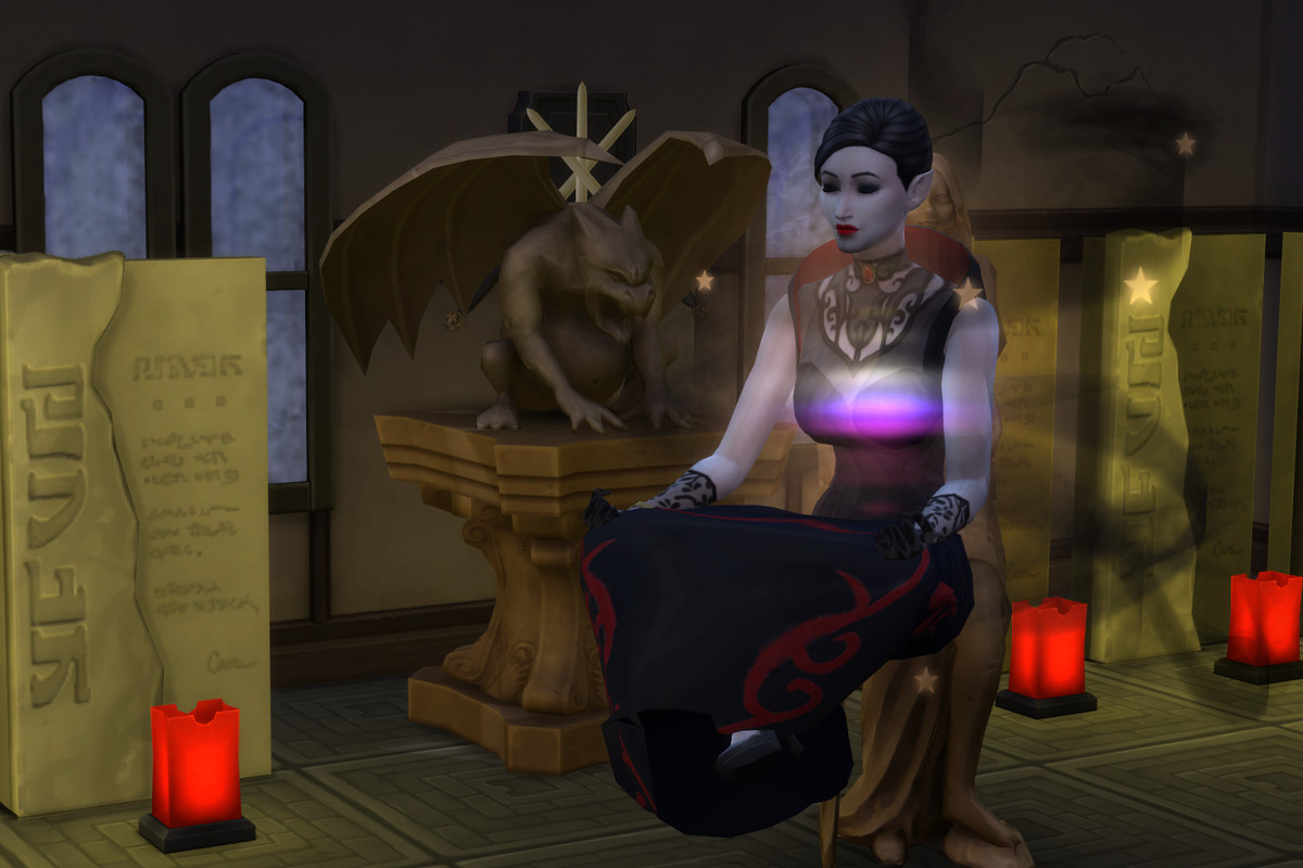 The Sims 4 - a floating vampire Sim meditates in a creepy room