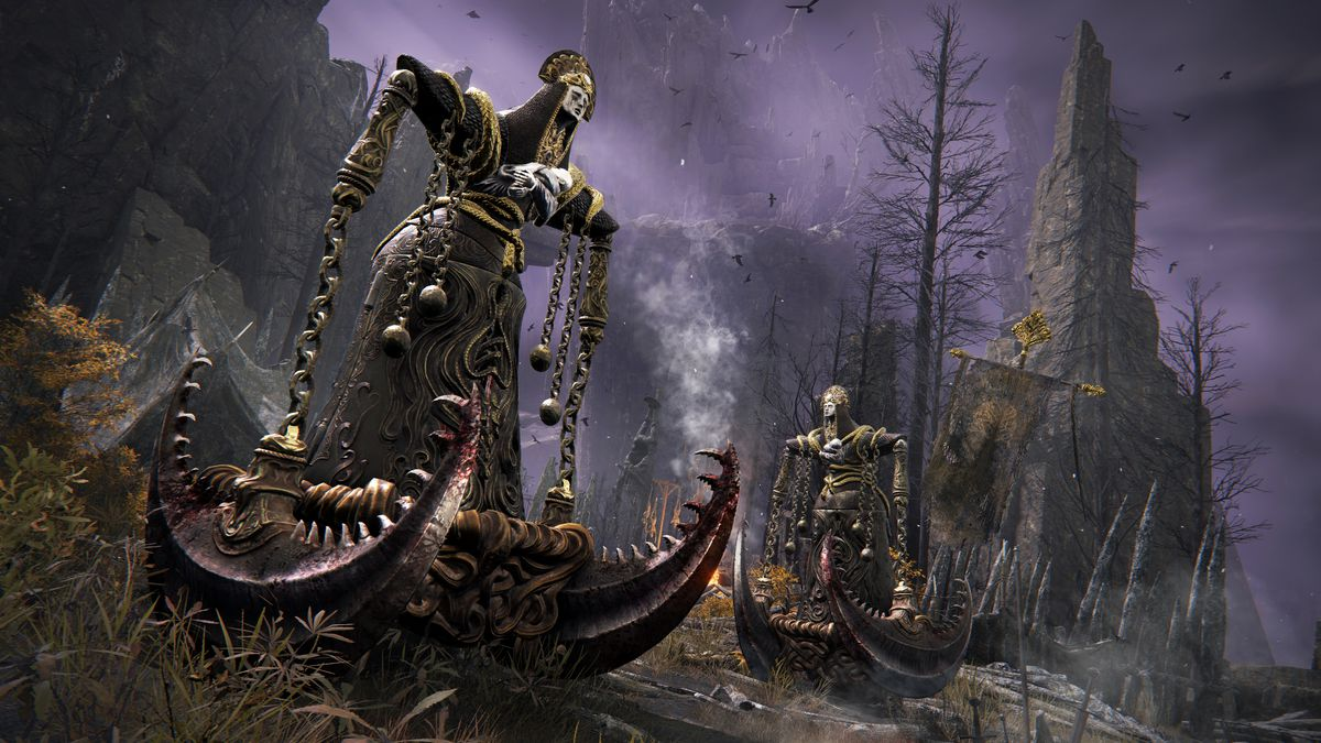 Two tall indescribable monsters in a wasteland from Elden Ring