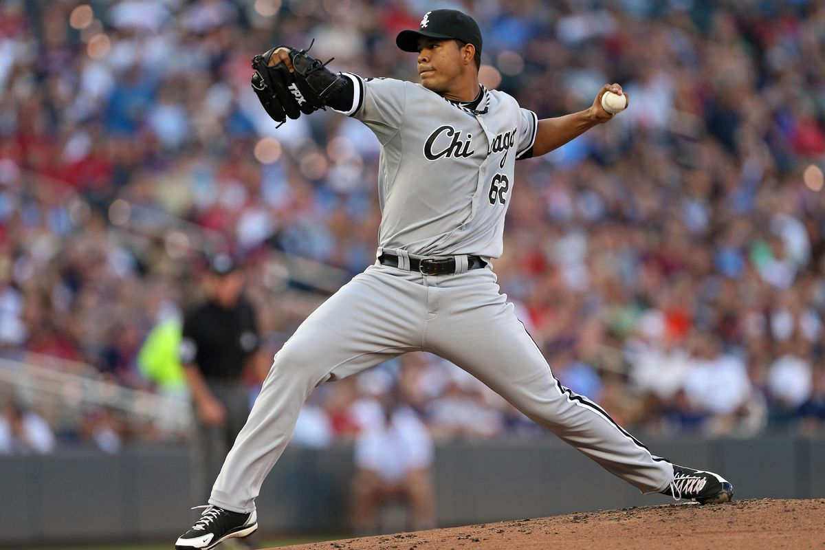 July 30, 2012; Minneapolis, MN, USA: Chicago White Sox relief pitcher Jose Quintana (62) delivers a pitch in the first inning against the Minnesota Twins at Target Field. Mandatory Credit: Jesse Johnson-US PRESSWIRE
