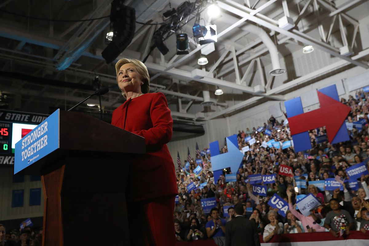 Hillary Clinton speaks during a campaign rally at Grand Valley State University.