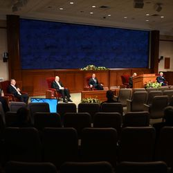 Church leaders participate in the Saturday afternoon session of the 190th Annual General Conference of The Church of Jesus Christ of Latter-day Saint on Saturday, April 4, 2020. The event is being streamed and broadcasted live from a mostly empty auditorium in the Church Office Building at Temple Square in Salt Lake City due to COVID-19.