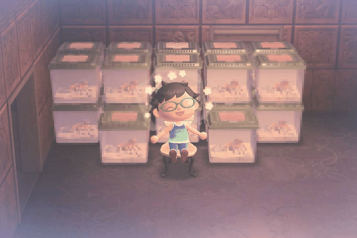 A villager surrounded by tarantulas in Animal Crossing: New Horizons