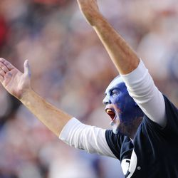 A Brigham Young Cougars fan yells in Provo on Saturday, Nov. 12, 2016.