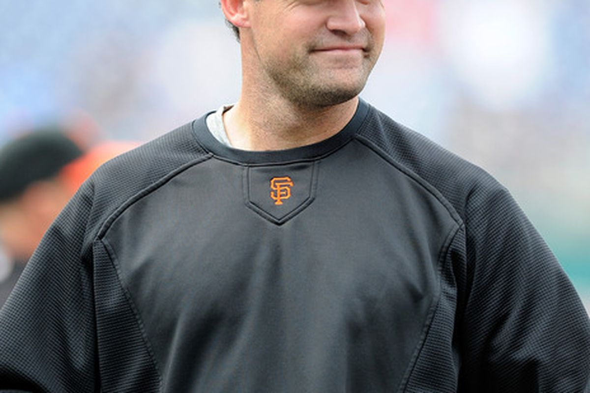 WASHINGTON, DC - MAY 02:  Pat Burrell #5 of the San Francisco Giants warms up before the game against the Washington Nationals at Nationals Park on May 2, 2011 in Washington, DC.  (Photo by Greg Fiume/Getty Images)