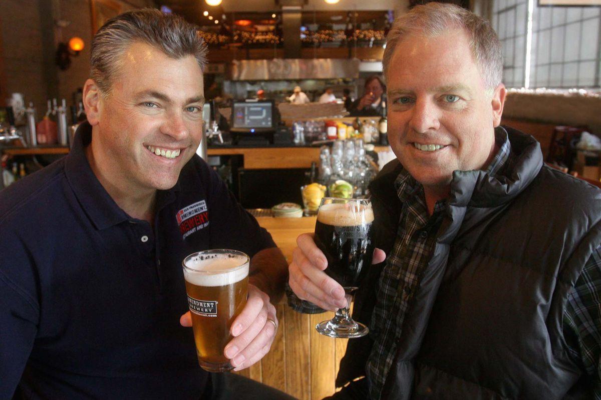 Nico Freccia (L) and Shaun O'Sullivan, co-founders of 21st Amendment Brewery.