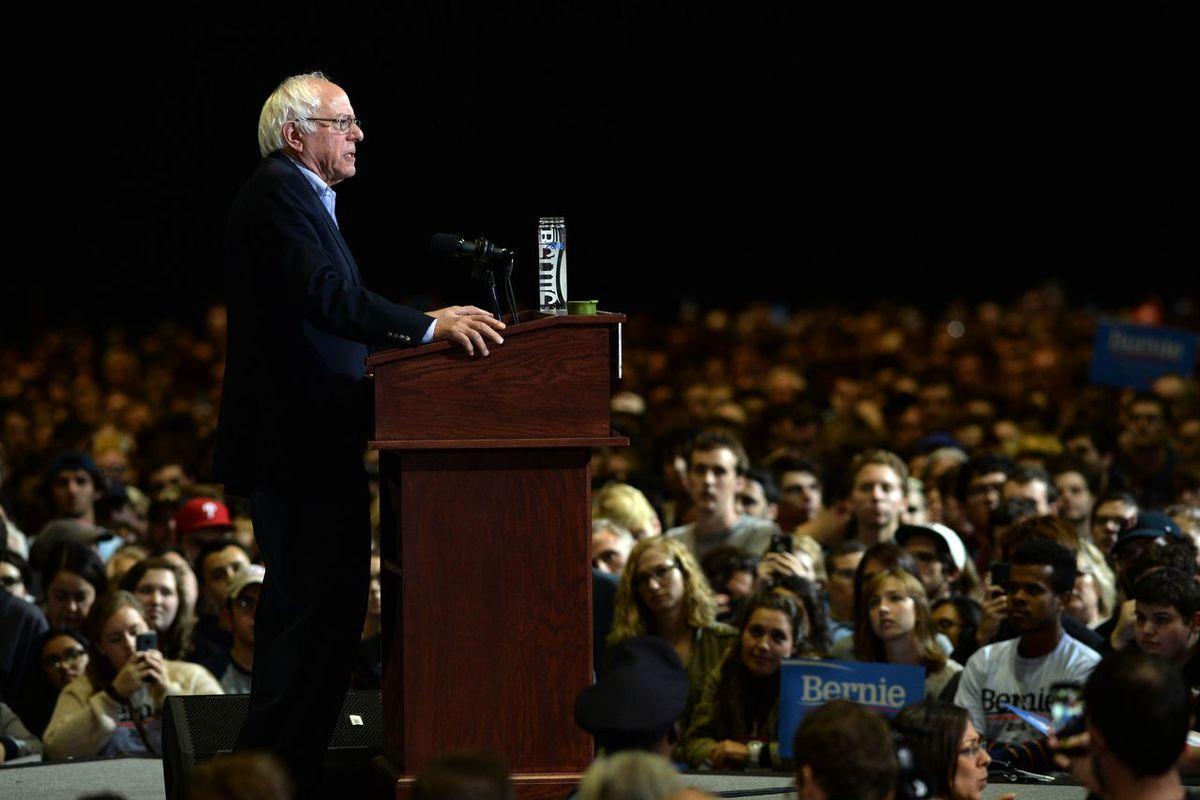 Bernie Sanders at a rally in Boston in October 2015.