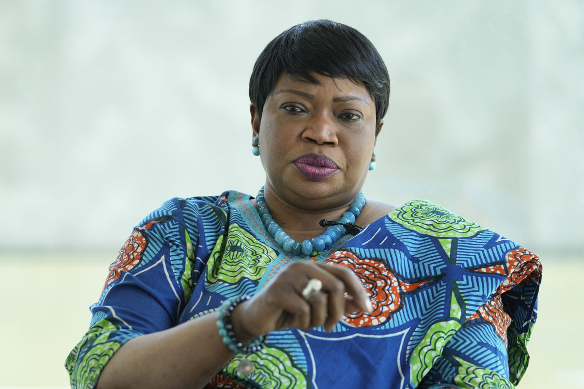 International Criminal Court Prosecutor Fatou Bensouda speaks during an interview with The Associated Press in The Hague, Netherlands, Monday, June 14, 2021. Bensouda discussed her nine years in office leading investigations and prosecutions by the global court as her tenure comes to an end June 15, 2021.