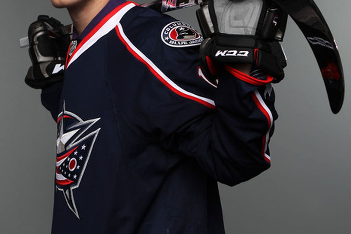 ST PAUL, MN - JUNE 25:  Seth Ambroz 128th overall pick by the Columbus Blue Jackets poses for a portrait during day two of the 2011 NHL Entry Draft at Xcel Energy Center on June 25, 2011 in St Paul, Minnesota.  (Photo by Nick Laham/Getty Images)