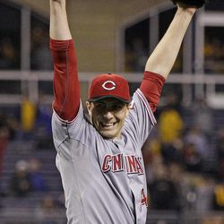 Cincinnati Reds starting pitcher Homer Bailey (34) celebrates getting the final out of a no-hitter in a baseball game against the Pittsburgh Pirates in Pittsburgh Friday, Sept. 28, 2012. The Reds won 1-0.