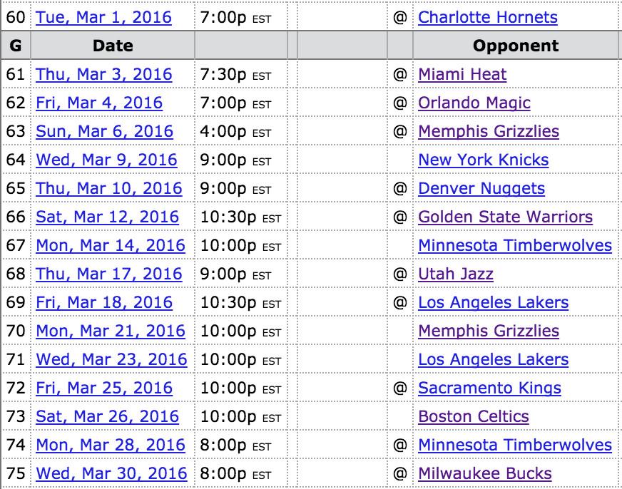 Suns-March-schedule