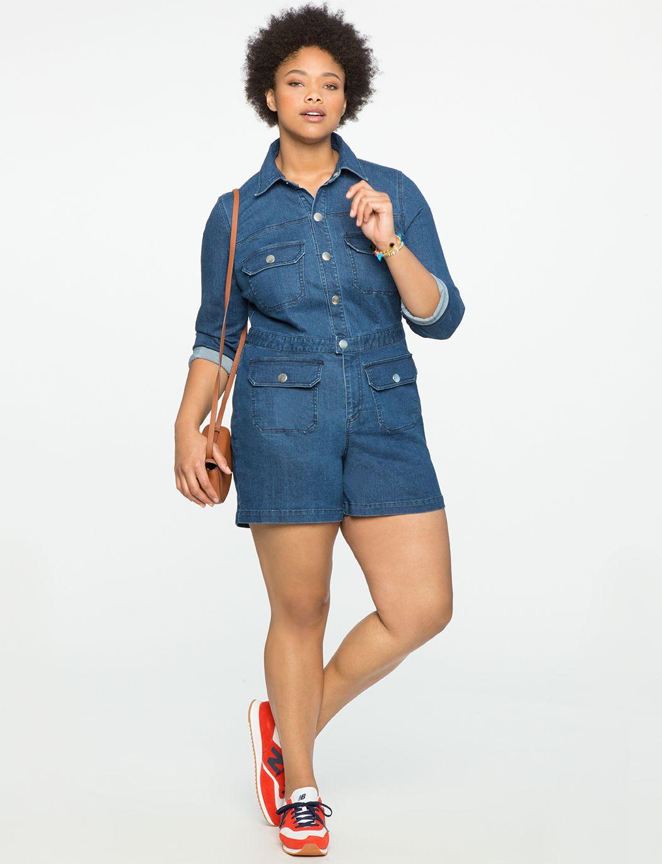 A model in a denim romper and red sneakers