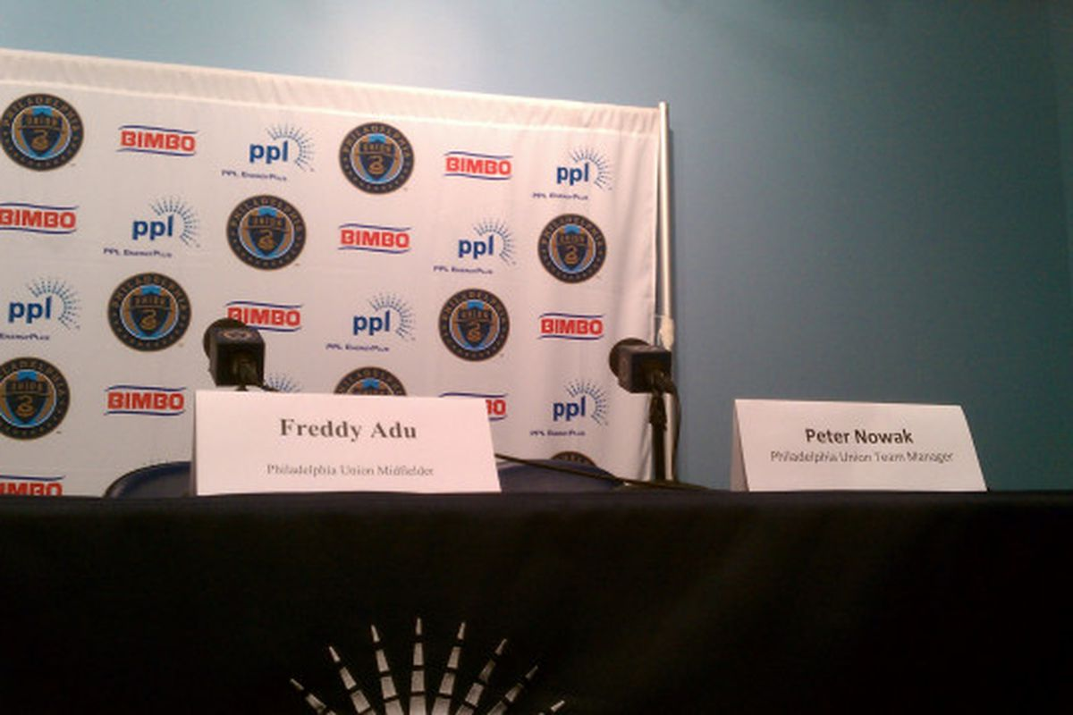 The Freddy Adu introduction press conference. (Photo courtesy of Chris Vito)