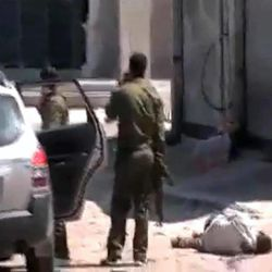 This image made from amateur video and released by Syrian Media Centre Friday, April 13, 2012 purports to show a dead body next to Syrian soldiers in Daraa, Syria.