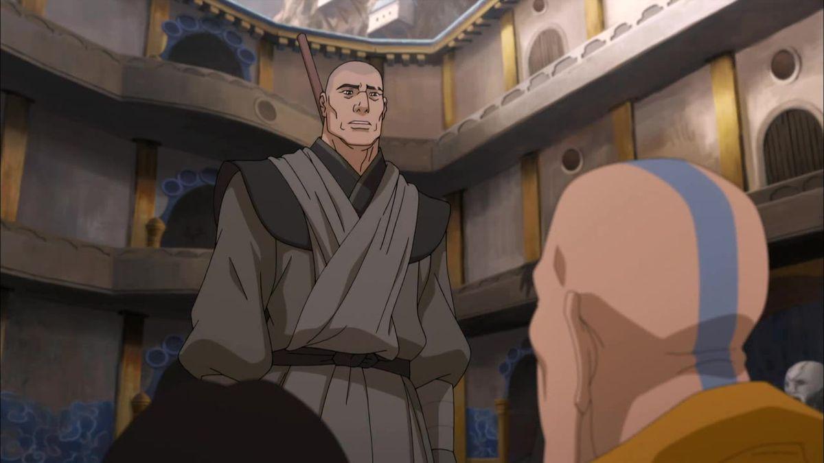 Zaheer stands over Tenzin in Legend of Korra