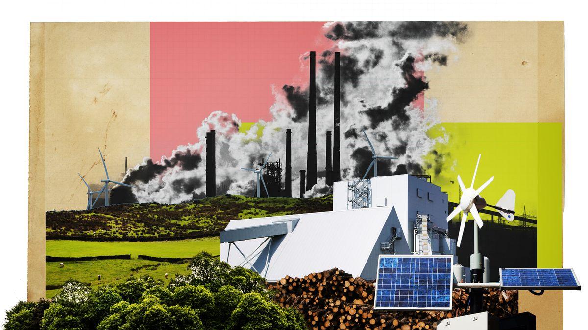 An illustration of polluting smokestacks and renewable energy.