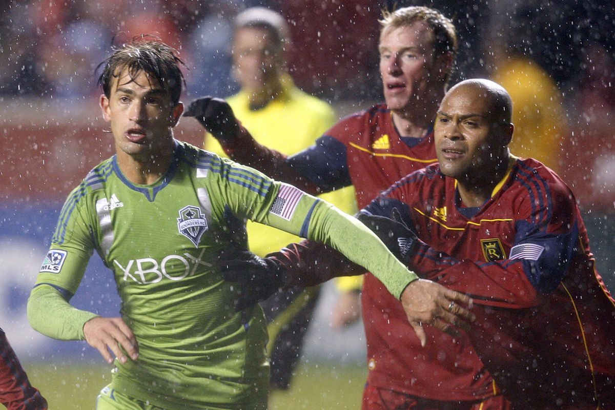 It is kind of hard to tell, but that is ex-Houston Dynamo turned Seattle Sounder, Patrick Ianni