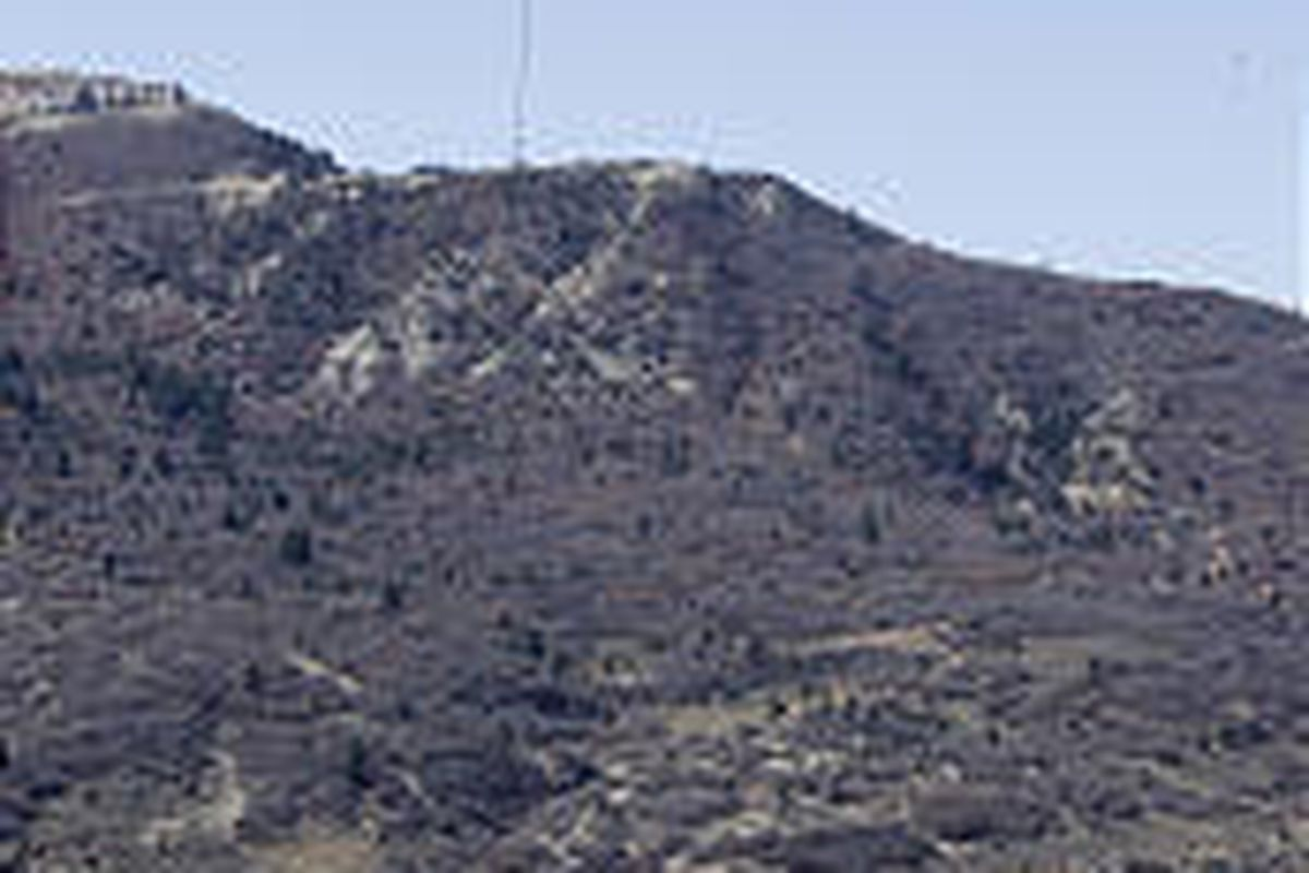 A helicopter transports bales of straw to spread on wildfire-damaged areas near Spanish Fork.