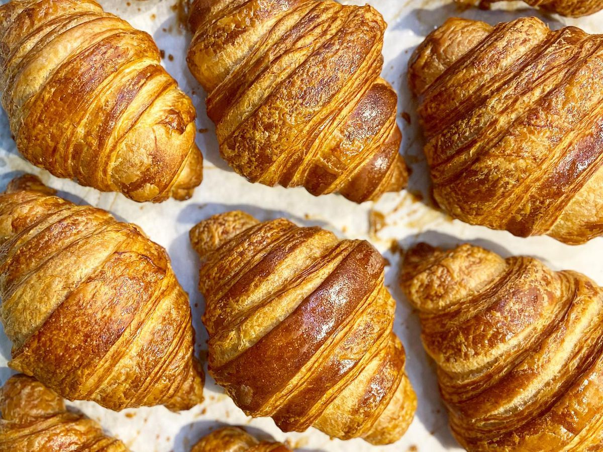 Rows of croissants