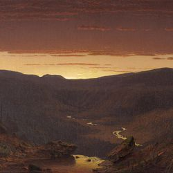 """""""Twilight in the Catskills"""" (1861) by Sanford Robinson Gifford is on display in Washington, D.C."""